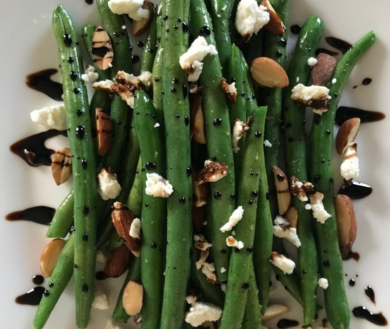 Sautéed Green Beans + Roasted Almonds, Feta & Balsamic