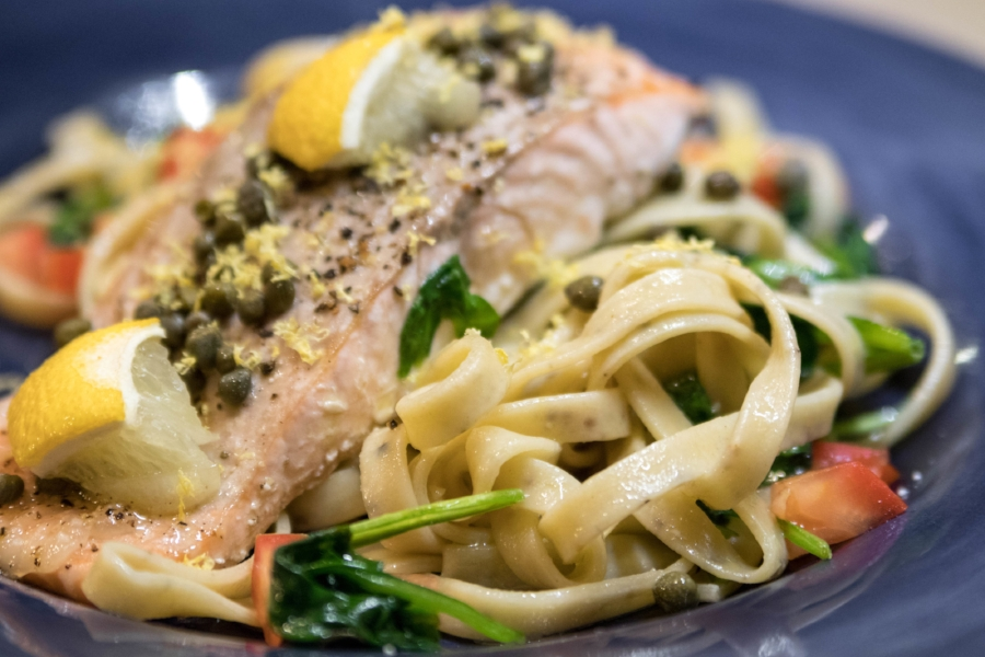 Lemon & Black Pepper Salmon Piccata Fettuccine Recipe