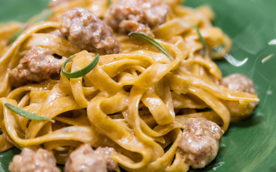 Pumpkin Fettuccine with Crumbled Italian Sausage Recipe